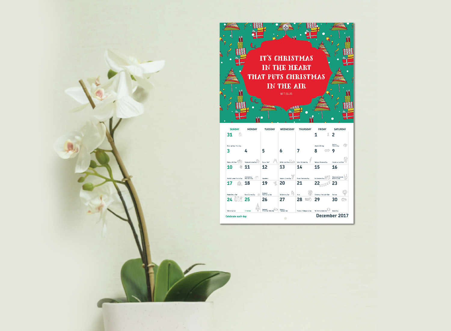 Holidays and Events Wall Calendar 2017